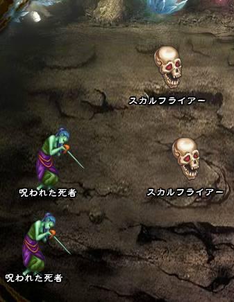 4回目。右へ分岐したメンバーのみ。 スカルフライアー×2 呪われた死者×2